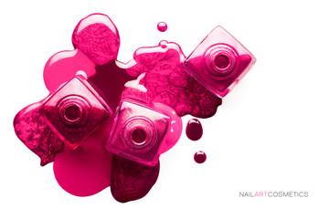 Nail art concept. Different shades of metallic pink nail polish