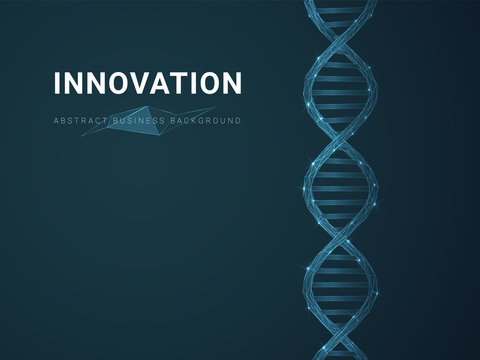 Abstract modern business background depicting innovation with stars and lines in shape of a DNA double helix on blue background.