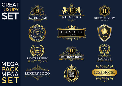 Great Luxury Set, Royal and Elegant Logo Vector Design