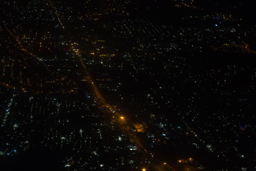 aerial view of the cityscape delhi at night