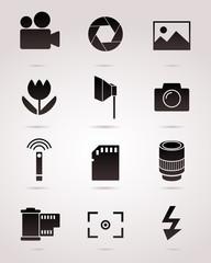 Photography vector icon set.