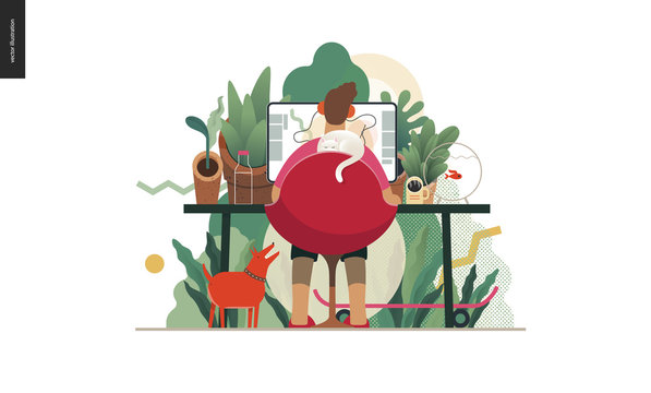 Technology 2 -Home Office - modern flat vector concept digital illustration home office metaphor, a freelancer guy working at home with pets and plants. Creative landing web page design template