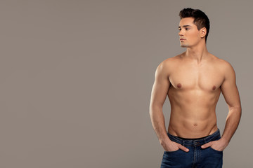 Handsome man with muscular torso.