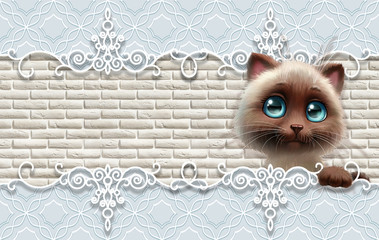 3d wallpaper,  cute baby background with cat. Baby cards.