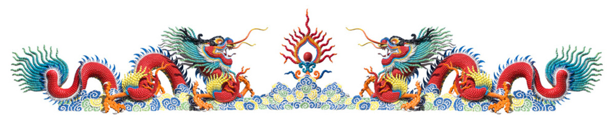 Twin colorful Chinese dragon on white background