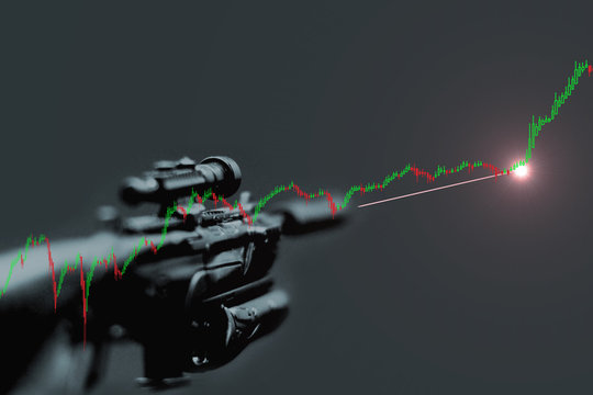Sniper trading concept. Experienced professional trader waiting for stock chart technical indicators before placing order and make significant profit.