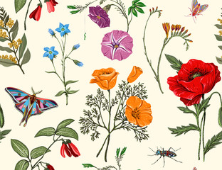 Foto op Aluminium Botanisch Summer vector seamless pattern. Botanical wallpaper. Plants, insects, flowers in vintage style. Butterflies, beetles and plants in the style of Provence. Drawn nature wallpaper. Summer