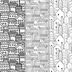 Set Of Hand Drawn Pattern With City Background. Vector Illustration.