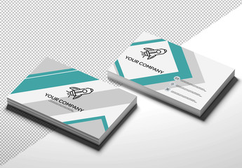 Two Stacks of Business Cards Mockup