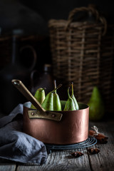Delicious ingredients for mulled wine with pears
