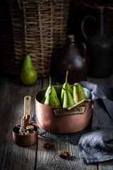 Ingredients for homemade mulled wine with pears
