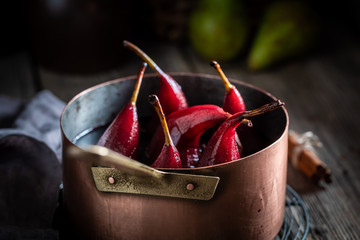 Delicious mulled wine with pears and cinnamon