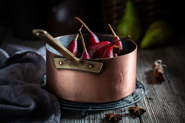 Homemade mulled wine with pears and spices