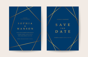 Fotobehang - Luxury Wedding invitation Card. Design with Minimal Golden Geometric shape pattern Can be adapt to covers design, RSVP, brochure, Packaging backgrounds, poster and greeting cards. Vector illustration.