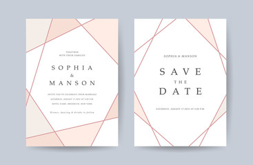 Wall Mural - Luxury Wedding invitation Card. Design with Minimal Golden Geometric shape pattern Can be adapt to covers design, RSVP, brochure, Packaging backgrounds, poster and greeting cards. Vector illustration.