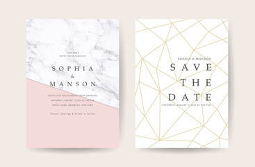 Wall Mural - Marble Wedding invitation. Design with Luxury Marbling Golden and Geometric shape pattern. Can be adapt to covers design, RSVP, brochure, Packaging, Magazine, Poster and Greeting cards. Vector
