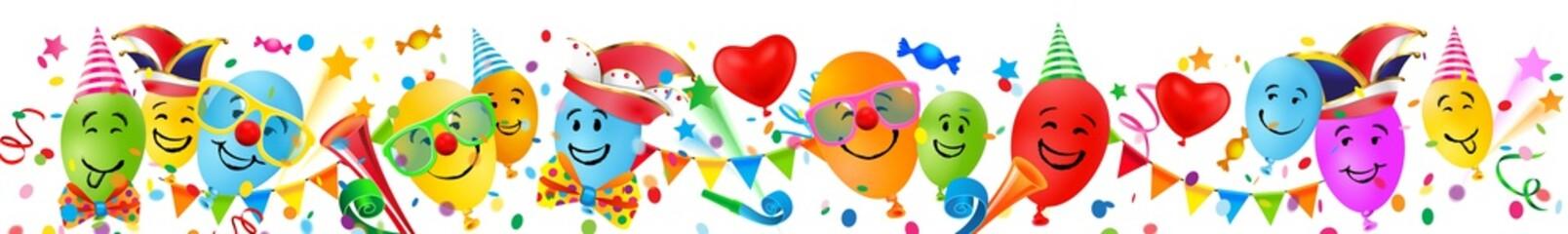 Bunte Luftballons mit lustigen Gesichtern, Konfetti und Fasching Accessoires - Banner