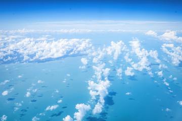 ariel view cloudscape over sea background
