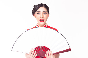 Beautiful asian woman holding big fan. Attractive beautiful young woman gets exciting or surprising of some sales, discount of goods, brand, product. Use for advertising. Isolated on white, copy space