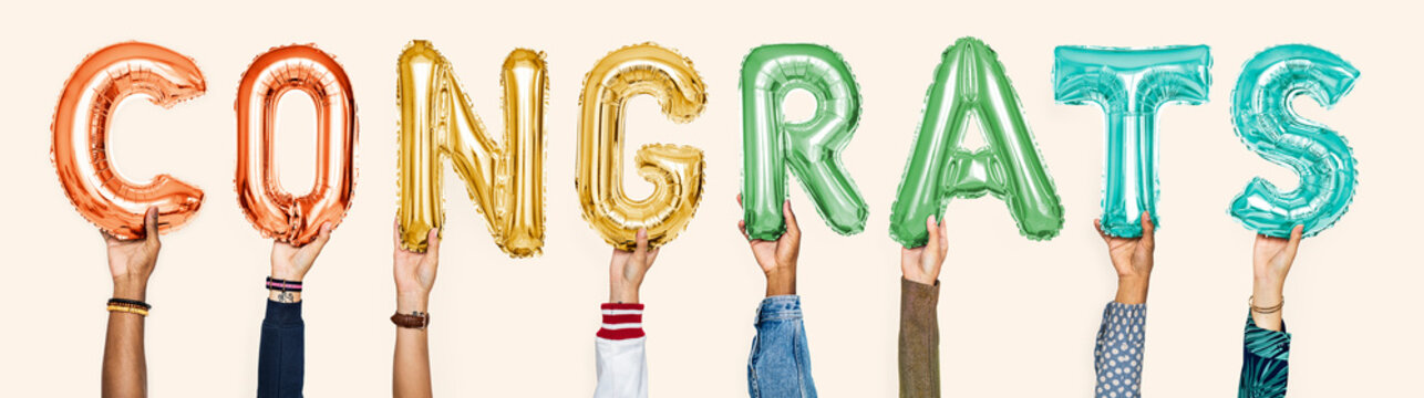 Colorful alphabet balloons forming the word congrats
