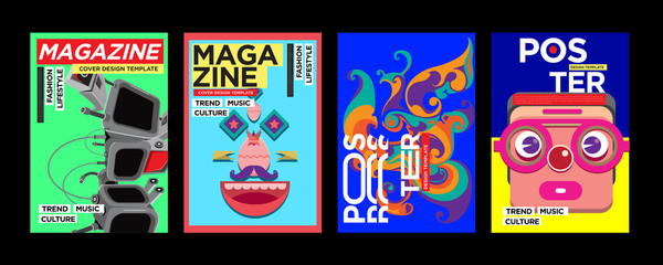 PrintNew Cover and Poster Design Template for Magazine. Trendy Vector Typography and Colorful Illustration Collage for Cover and Page Layout Design Template in eps10.