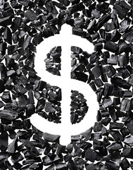 US Dollar symbol made out of Coal