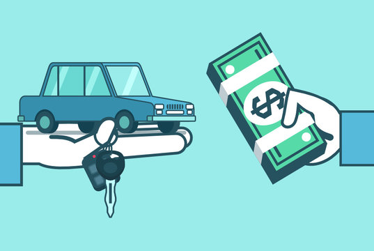 Hand holds car, keys and money. Buy, rent car concept. Car dealer. Simple style vector illustration