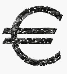 Euro Symbol made out of Coal