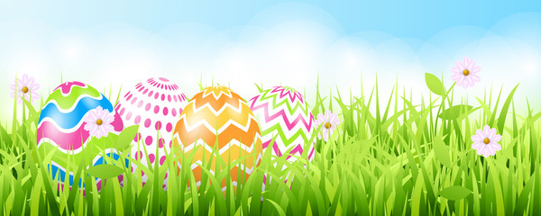 Happy easter background template with beautiful flowers, grass and eggs. Greeting Card. Vector illustration