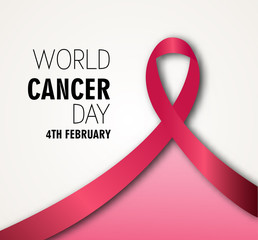 Vector illustration of  Cancer Day on February 4 World Cancer Day poster with red ribbon.