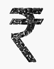 Indian Rupee Symbol made out of Coal