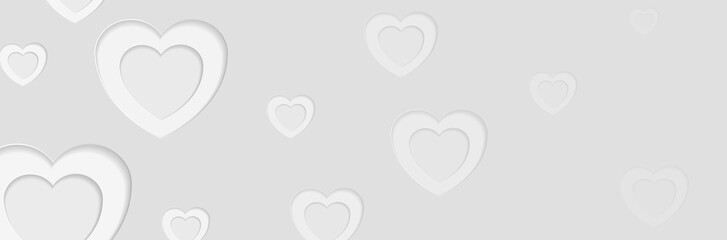 Grey papercut hearts abstract Valentines Day banner