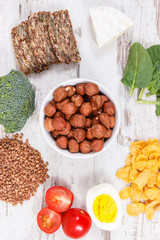 Healthy ingredients as source minerals, vitamin B2 and dietary fiber, nutritious eating concept