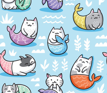 Seamless pattern with cats mermaid in kawaii style. Vector illustration