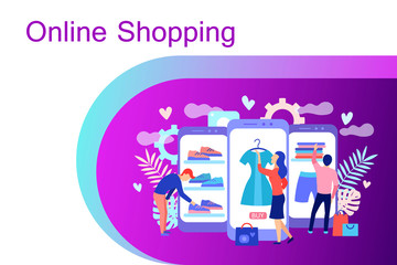 Online shopping concept with characters.