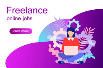 Freelancers service concept web banner.
