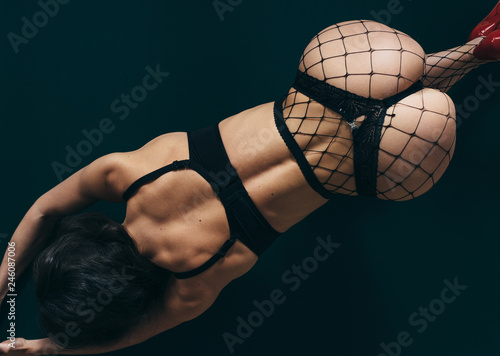 Sexy Butt Black Panties Woman In Lingerie On The Floor Doggy Style Position Top View