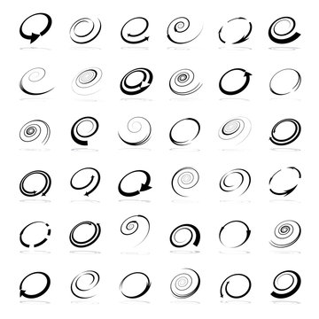 Spiral design elements. Abstract icons set.