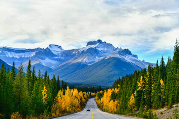 "The road 93 beautiful ""Icefield Parkway"" in Autumn Jasper National park,Canada"