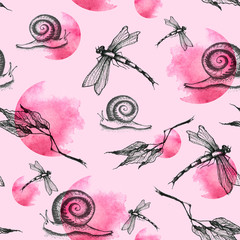 Dragonfly, snail seamless art pattern.  Butterfly, snail moth Graphic Realistic Line Ink Drawing,watercolor paint splash. Hand-drawn illustration. Beautiful, trendy stylish background.