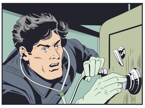Robber near safe. Stock illustration.