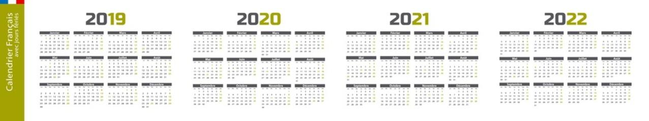 Calendrier 2019, 2020, 2021, 2022