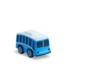 small blue metal toy bus isolated on white background