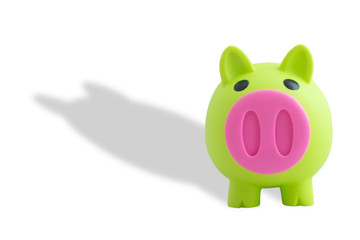 piggy bank plastic green toy isolated on white