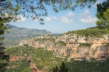 Landscape from a cliff at Siurana - a famous highland village Siurana of the municipality of the Cornudella de Montsant in the comarca of Priorat, Tarragona, Catalonia, Spain.
