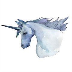 Cute unicorn horse animal horn character. Watercolor background illustration set. Isolated unicorn illustration element.