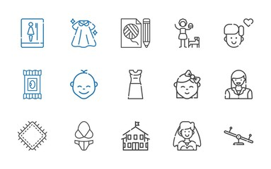 girl icons set
