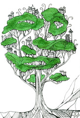 Fantasy elf town on great tree. Creative drawing of houses on branches.