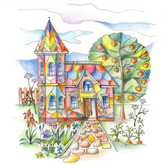 Colorful country house with turret in flourishing garden. Hand drawn picture by colored pencils.