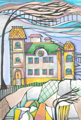 Color drawing, picturesque landscape with house and tree on rock in windy day. Colorful hand drawn sketch by markers and liner.